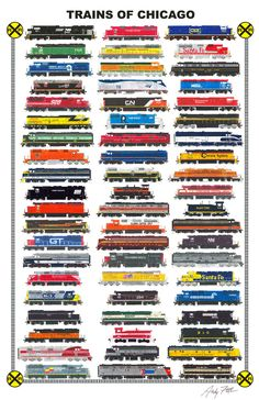 Trains of Chicago: Hand drawn locomotives of Chicago, past and present by Andy Fletcher
