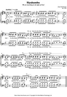 Siyahamba (Zulu Traditional) sheet music for Choir