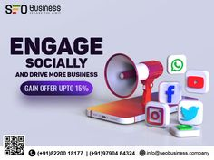 Grow your Business by engaging your target audience more virally. Join hands with us and get up to a 15 % offer on Social Media Marketing! Join Hands, Target Audience, Growing Your Business, Social Media Marketing