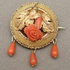 10K Yellow Gold and Coral Antique Victorian Pin Round with Dangles | eBay