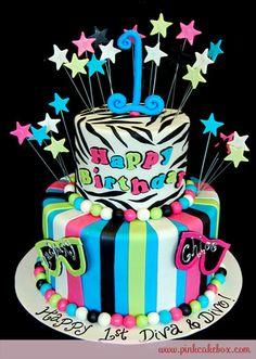 Two Tier black zebra stripe cake