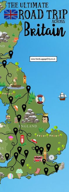 The Ultimate Road Trip Map of 26 Places To See Across Great Britain Places to travel 2019 A road trip is an incredible way to see a country especially, the truly stunning, Great Britain! One of the best things about our wonderful country is the vast Camping Places, Places To Travel, Places To See, Travel Destinations, Travel Maps, Vacation Places, Free Travel, Road Trip Map, Road Trip Europe