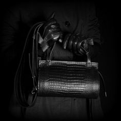 """Leather bag Elisabeth with croco pattern by Kadri Kruus. Inside the bag there is a small additional vanity bag with Coco Chanel quotation: """"A girl should be two things: classy and fabulous."""""""