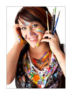 this senior picture is so cute & funny! She's an artist... w/ war paint... & there's about to be paint in her hair..