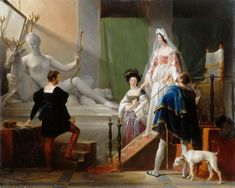 First half of Century - 'Henri II and Diane de Poitiers in the Studio of Jean Goujon' by Alexandre-Evariste Fragonard (French, 1780 - Oil on canvas. Oil On Canvas, Canvas Art, Canvas Prints, Costume Renaissance, French Royalty, Roman Gods, Francis I, Louvre, King Henry