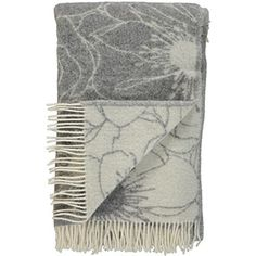 Grey Wool Poppy Throw