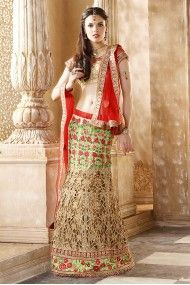 Net Bridal Wear Lehenga Choli in Gren and Cream Colour http://www.shopcost.in/bridal