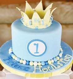 Royally Sweet Little Prince Birthday Party // Hostess with the Mostess® Prince Birthday Party, Baby Birthday Cakes, Baby First Birthday, Boy Birthday Parties, King Birthday, Princess Birthday, Birthday Ideas, Little Prince Party, Prince Cake