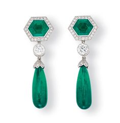 A PAIR OF EMERALD AND DIAMOND EAR PENDANTS, BY TIFFANY & CO.