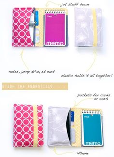 Organizer wallet tutorial- Today, I'll share a quick/easy/scrap busting tutorial with you. I decided on creating a wallet/organizer that can hold stuff like iPhones, jump drives, memory cards, credit cards, business cards, cash, notes, memo pads, etc. . . . great for the person who needs a little organization. You won't need a lot of fabric for these and they sew up quickly. . . perfect for whipping up last minute Christmas gifts!