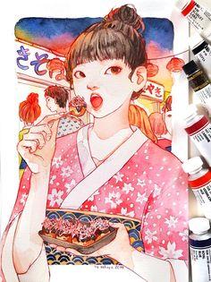 Art Inspiration Drawing, Art Inspo, Girl Drawing Sketches, Art Drawings, Manga Watercolor, Ghibli Tattoo, Desenhos Gravity Falls, Copic Art, Creative Artwork