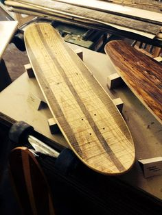 Street cruiser deck hand laminated from reclaimed shipping pallets. Skateboard Longboard