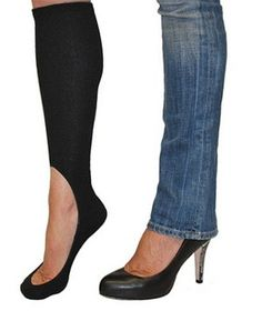 Too prevent blisters and keep legs & toes warm when wearing heels w/pants in winter