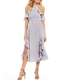 65ea3d1cb5c Gianni Bini Chrissy Off-the-Shoulder Scuba Dress. See more. Gianni Bini  Carina Satin Ruffle Hem Dress Gianni Bini