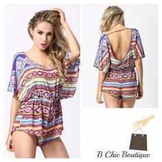 "Sexy Aztec Print Romper Beautiful mix of colors in an Aztec print  Bat sleeve / open back  Polyester  Loose fit Drawstring at waist   Medium  Waist: 40.16""/ hips: 48.03""/ length: 29.13""  Large  Waist: 41.73""/ hips: 49.61""/ length: 29.53""  X Large  Waist: 43.31""/ hips: 51.18""/ length: 29.92"" B Chic Pants Jumpsuits & Rompers"