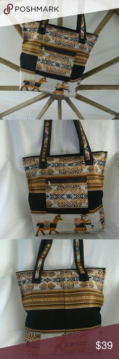 Artisan Ecofriendly Hobo Tote Bolivian Textile Bag Bolivian Textile Artisan Made Ecofriendly Hobo Shoulder Bag. Traditional Andes textile pattern with alpaca  region specific motives.  Warm earth tones of brown, gray  , traces of orange red and black. One front zip pocket. Interior black lining. Top Zip closure with 2 handles. Light weight sturdy shoulder bag. Good for school , shopping travel or gym. New , hand made. Artisan  Bags Hobos