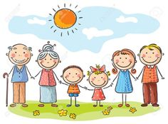 Illustration of Happy family with two children and grandparents vector art, clipart and stock vectors.