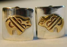 NAVAJO VINTAGE TOMMY SINGER 925 STERLING SILVER BEAR CLIP ON EARRINGS SIGNED Tc