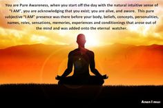 """You are Pure Awareness, when you start off the day with the natural intuitive sense of """"I AM"""", you are acknowledging that you exist; you are alive, and aware. This pure subjective """"I AM"""" presence was there before your body, beliefs, concepts, personalities, names, roles, sensations, memories, experiences and conditionings that arose out of the mind and was added onto the eternal watcher.~Anon I mus"""