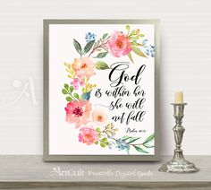 """Printable artwork, digital download """"God is within her, she will not fall"""" Psalm 46:5, Bible verse scripture art, home decor ArtCult designs by ArtCult on Etsy"""