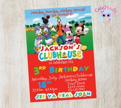 Mickey Mouse Clubhouse Invitation Chalkboard Mickey Mouse