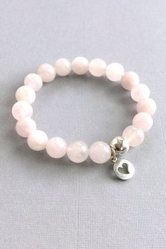 Genuine Rose Quartz Bracelet, Silver Heart Charm Bracelet, Pink Stone – Gems By Kelley