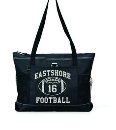 "TEAM Name & Player Number 20"" FOOTBALL MOM Sports Bag with soft Microfiber or Glitter design"
