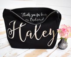 Personalised Bridesmaid Gift Make Up Bag - Thank you Bridesmaid, Maid of Honour Gift - Unique Gift for Bridal Party, Makeup Cosmetic Bags by ThePersonalWeddingCo on Etsy https://www.etsy.com/listing/507762309/personalised-bridesmaid-gift-make-up-bag