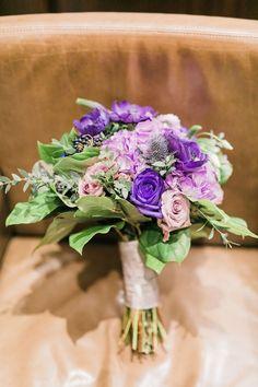 Purple Navy Blue Greenery Bride Bouquet