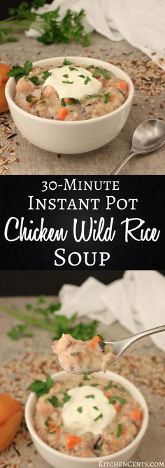 This creamy chicken and wild rice soup is full of vitamin-rich veggies, chunks of chicken, nutty wild rice, and is ready in under 30 minutes.