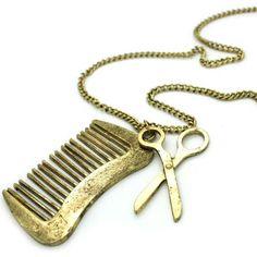 Gold comb and scissor