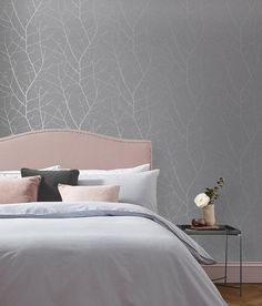 Boreas deep grey combines statement colours with a classical design. Bedroom Feature Wallpaper, Accent Wall Bedroom, Gray Bedroom, Master Bedroom, Silver Bedroom Decor, Grey Feature Wall, Feature Wall Living Room, Brown Wallpaper, Home Wallpaper