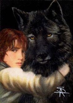 Original portrait of Rickon Stark and Direwolf Shaggy Dog Game of Thrones by Antoinette Sajaf