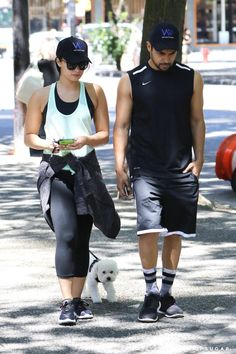 Pin for Later: Cute Couple Demi Lovato and Wilmer Valderrama Take a Stroll With Her Pretty Pooch