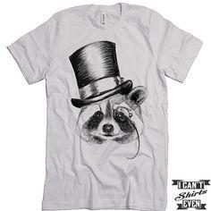Raccoon Shirt. Unisex Tshirt. Funny Raccoon Tee. Raccoon Wearing A Head.
