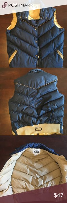 Vintage Woolrich Vest Men's Medium Fantastic vintage navy down vest from Woolrich. Exceedingly warm, great condition. Men's sizing, but could easily be worn by anyone! Snap closures all functional and intact. Zippered outer pockets work great. Navy with tan accents. Woolrich Jackets & Coats Vests