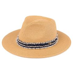 Summer Panama Hat with Distressed Denim Band (ST-351)