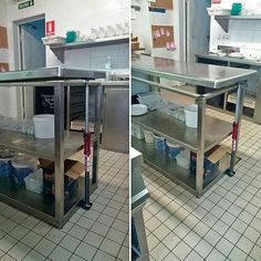 (1/3) More pics from users. Renovation in a insdustrial kitchen. Changing a heavy table with a little help from a Piher MULTIPROP. First step: lift up the steel baord. No problem. This one support up to 450kg (1000lb) . EasyFastStrong   #Piher #clamping #tools #adjustable #CargoBar #telescopic #Multiprop  #industrialkitchen #renovations #steel #prop #3rd Hand #hardware #contractors  #DoItYourWay
