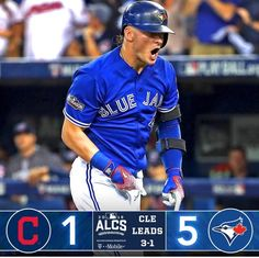 Led by Josh Donaldson and Aaron Sanchez, Toronto Blue Jays won Game Four of the avoiding a sweep. Cleveland Indians are up 2016 Postseason. Josh Donaldson, Babe Ruth, Toronto Blue Jays, Cleveland Indians, Best Games, Baseball Cards, Sports, Sport