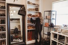Shannon Jenkins of Upbeat Soles does an Ikea hack with how to DIY a Billy Bookcase into a built in shoe closet or built in bookcase Closet Hacks, Ikea Closet, Closet Bedroom, Closet Space, Closet Ideas, Closet Organization, Diy Bedroom, Organizing, Bedroom Ideas