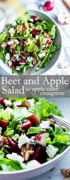 Recipes Nourishing fall flavors come together in this simple yet flavor packed salad. With a snappy dressing, Roasted Beet and Apple Salad with Apple Cider Vinaigrette is versatile enough to pull together with your favorite greens. Apple Salad Recipes, Healthy Salad Recipes, Whole Food Recipes, Vegetarian Recipes, Cooking Recipes, Vegan Beet Recipes, Fall Apple Salad Recipe, Beet Green Recipes, Meat Recipes
