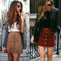 Fashion Elegant Women Ladies Summer Skirts High Waist Single Breasted Solid Slim A-Line Suede Leather Mini Skirts 2 Style(China) Suede Mini Skirt, Leather Mini Skirts, Leather Skirt Outfits, Looks Adidas, Mode Outfits, Fashion Outfits, Ladies Outfits, Fashion 2017, Party Outfits