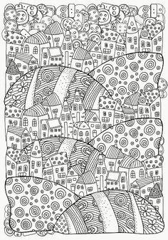 Pattern for coloring book with artistically houses. A4. Magic City vector art illustration