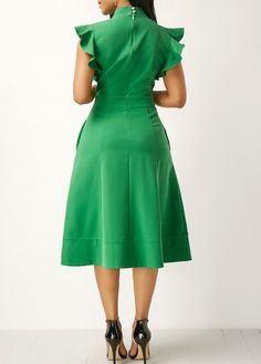 High Waist Tie Neck Pocket Green Dress on sale only US$33.48 now, buy cheap High Waist Tie Neck Pocket Green Dress at liligal.com