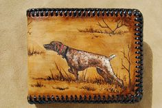 Pyrography on Leather - tips for beginners Hunting Dogs, Deer Hunting, Thick Leather, Leather Cover, Leather Tutorial, Bow Hunter, Leather Tooling, Tooled Leather, Cnc Wood