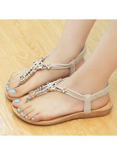Ladylike Clip Toe Elastic Metal Embellishment Patchwork Flat-sandals Flat Sandals from fashionmia.com