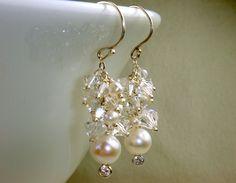 Swarovski Crystal and Pearl Earrings.