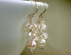 Swarovski Crystal and Pearl Earrings.