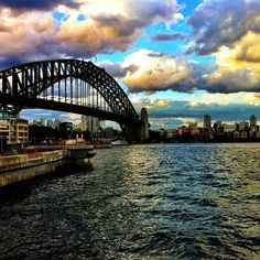 Colorful sky behind the Sydney Harbour Bridge
