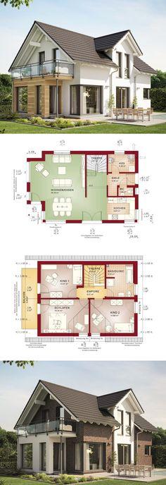 Haus Evolution 122 V10 Bien Zenker Grundrisse Variante Holz Klinker Fassade Satteldach Terrasse Balkon Gärten